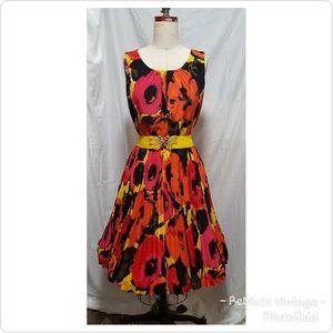 Bright Floral Pleated Midi Dress Alfani Sz 6